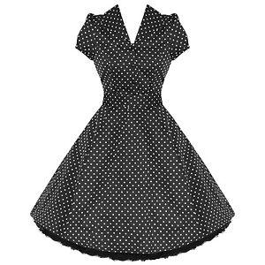 Ladies-New-Black-Polka-Dot-Vtg-50s-Retro-Pinup-Rockabilly-Party-Prom-Swing-Dress
