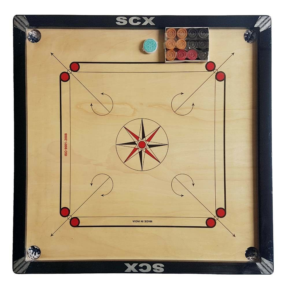 New Pro 33  Large Carrom Board Wooden Game With Free Coins & Striker CHU_0162