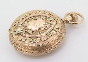 C1890-Illinois-14K-Multicolour-Gold-Diamond-Set-6s-Pocket-Watch-Serviced