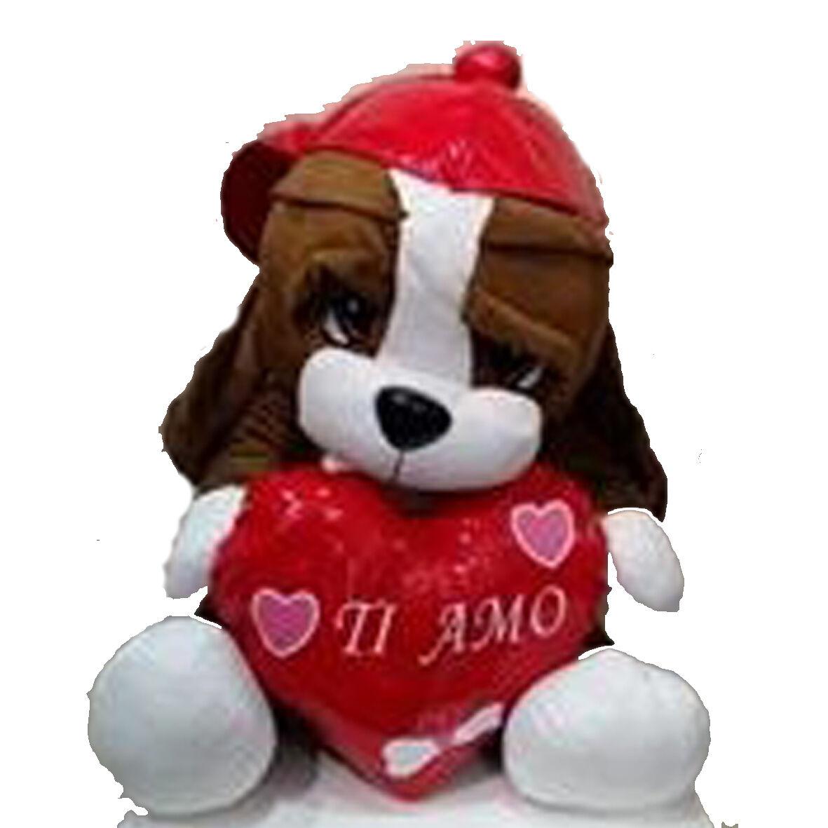 Peluches AMORE bulldog 60 cm cuore TI AMO idea regalo innamorati o SAN VALENTINO