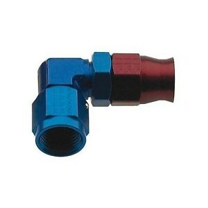 Hose End For PTFE -6AN X 90° Double Swivel Red/Blue Aluminum Fragola 690906
