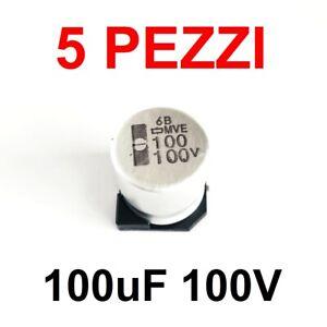 5 pezzi Condensatore Elettrolitico SMD Contenitore Radiale 100uF 100V 20%