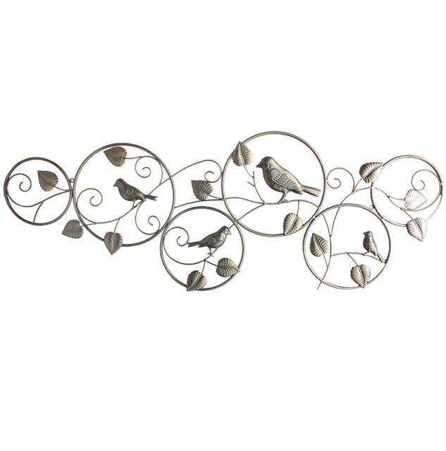 Home & Garden Decor Rustic Gold Metal Wall Art Wall Hanging Birds in 6 Rings