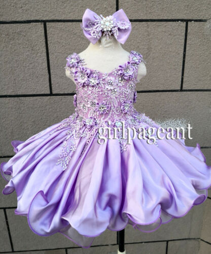 Infant Toddler Baby Girl Lace Applique Crystals Pageant Dress Many Sizes G535