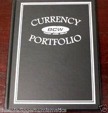 BCW Currency Banknote Portfolio Album 3 Pocket BLACK Holds 30 Bills Holder Book