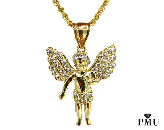 10K Yellow gold Angel Pendant with 10K gold Rope Chain Set Hiphop Jewelry