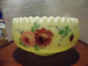 Antique-Jefferson-Custard-Glass-Rose-OPTIC-Master-Berry-Bowl-Vaseline