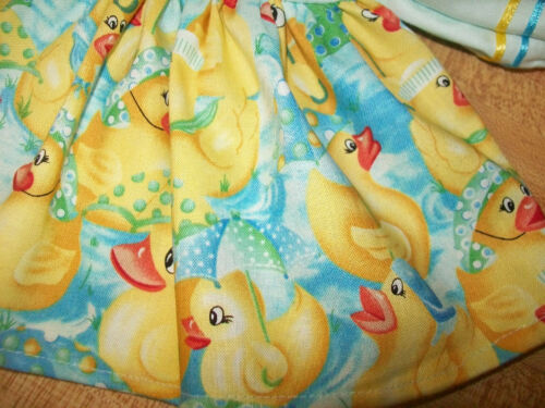 "RAINY DAY DUCKS DRESS W// DUCK BUTTON RIBBON for 16-17-18/"" CPK Cabbage Patch Kids"