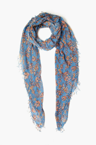 Chan Luu Palace Blue Painterly Floral Cashmere Silk Scarf Wrap LIMITED EDITION!