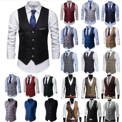 Men/'s Dress Suit Vest Formal Business Wedding Tuxedo Waistcoat Slim Fit Coat Top