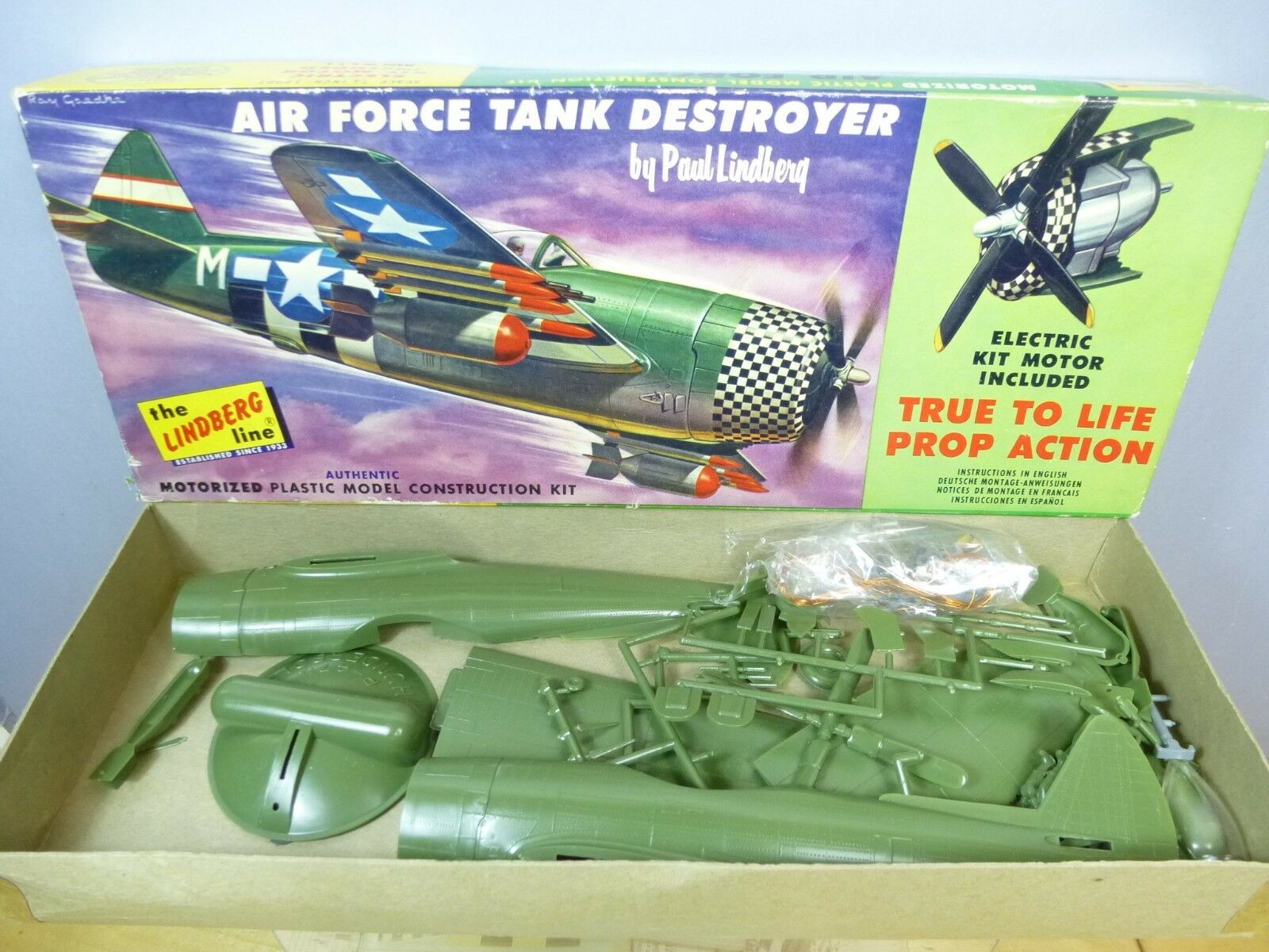 LINDBERG UNMADE  MOTORIZED   KIT MODEL No. 303m-100 AIR FORCE TANK DESTROYER MIB