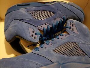 60fda8ee788ae5 Nike Air Jordan 5 V Blue Suede Size 11 Game Royal Black 136027-401 ...