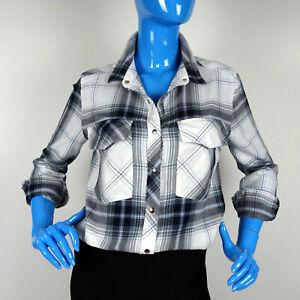 Forever-21-Plaid-Boyfriend-Front-Snap-Utility-Shirt-Blouse-S-6-8-Flannel-Long