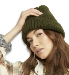 FREE PEOPLE Lullaby Beanie Hat One Size Ivy Moss Green Rib Chunky Soft Cuffed