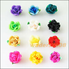 8Pcs Mixed Handmade Polymer Fimo Clay Flower Spacer Beads Charms 10mm