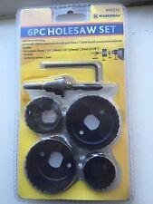 "6 Pc Hole Saw Set Carbon Cutting Steel Blade 1-1/4"", 1-1/2"", 2"", 2-1/8"", Diy New"