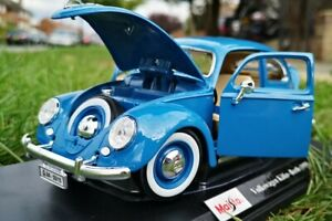 VOLKSWAGEN-KAFER-BEETLE-1955-Azul-Diecast-Modelo-Coche-1-18-Maisto-escala-Nuevo