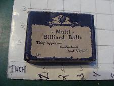 vintage trick/gag/ joke:1950's/60's in box MULTI BILLIARD BALLS no instructions