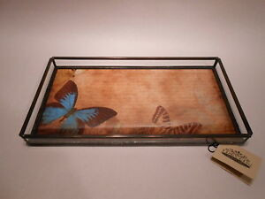 Stained-Glass-amp-Metal-Butterfly-Dresser-Tray-VINTAGE-PAPER-by-J-Devlin-Glass-Art