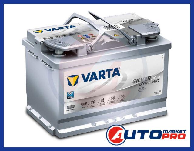BATTERIA PER AUTO VARTA E39 AGM 70AH 760A 12V START & STOP 278x175x190 MM