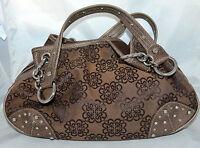 Kathy Van Zeeland Brown Flower Stud Cotton Canvas Distressed Hobo Shoulder Bag