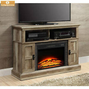 "55"" Weathered Rustic Electric Fireplace TV Stand Entertainment Center w Remote 