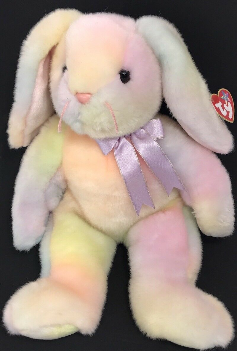 "Ty Beanie Buddies 1999 Hippie Baby Easter Bunny Rabbit 15"" Plush Toy Ty Dyed"