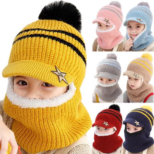 Kids Winter Warm Hat with Ear Flaps Girls Knitted Fleece Beanie Cap Scarf 1-8 Y