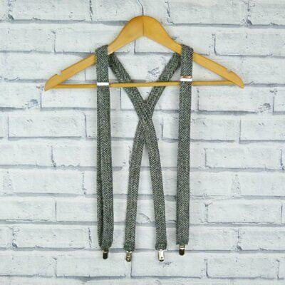 Eco Friendly Handmade Harris Tweed Braces Burnt Orange Herringbone Tweed