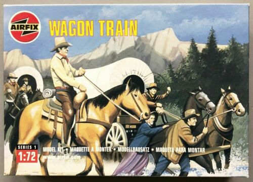 Wagon Train with Pioneers Airfix  1//72 FAR-WEST STORY BOX  RARE ON SPRUES