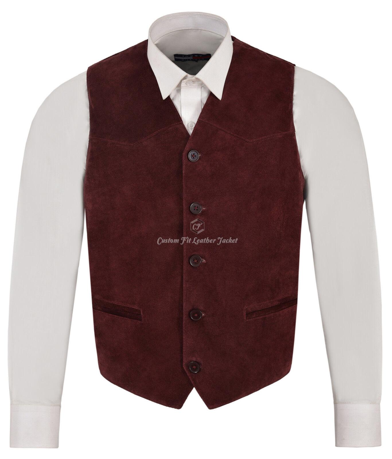 Herren Cherry Suede Real Leder Waistcoat Western Cowboy Festival Party Vest ZARA