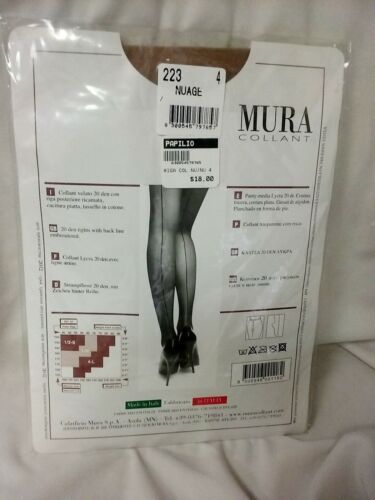 Mura collant lycra sheer 20 den pantyhose with back-seam and full board nude