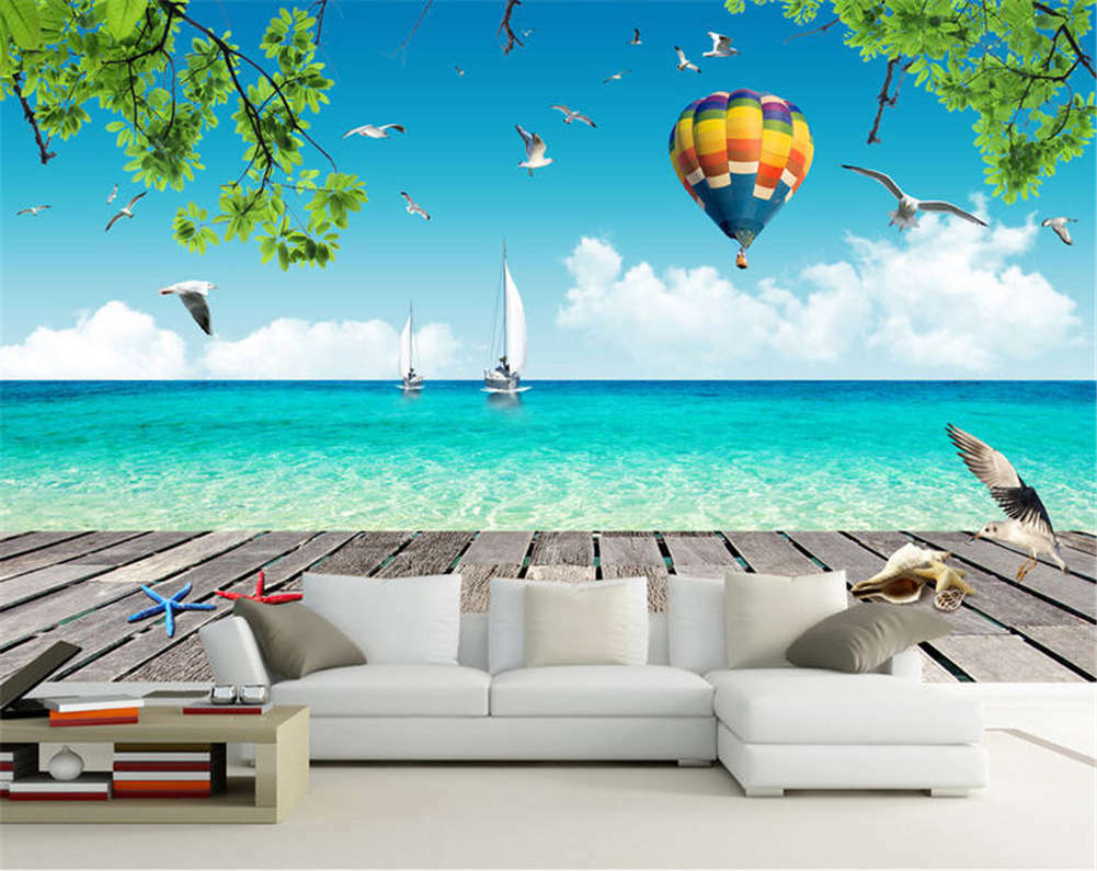 Romantic Concise Sea 3D Full Wall Mural Photo Wallpaper Printing Home Kids Decor