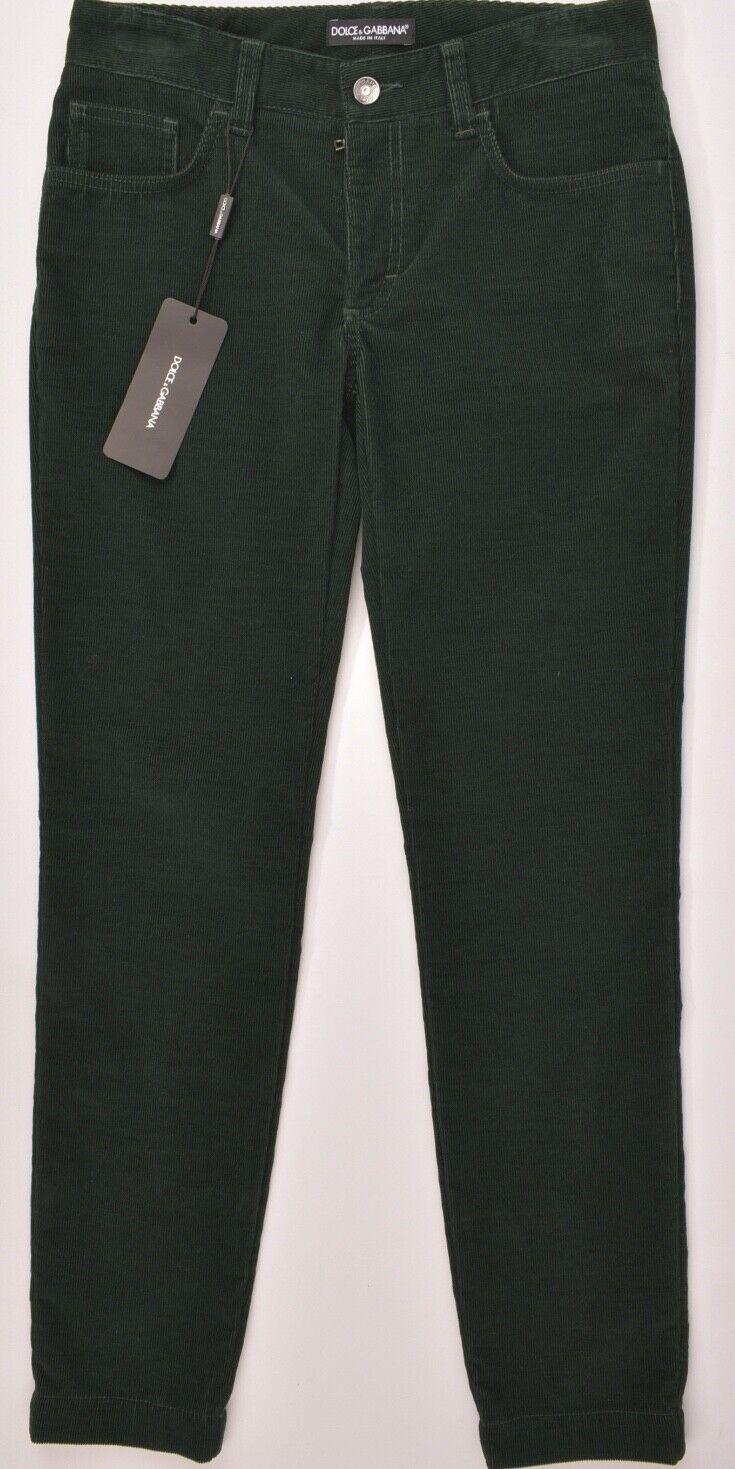 DOLCE & GABBANA Woherren Corduroy Corduroy Corduroy Trousers Pants Slim Fit Dark Grün W28 1ae4ce