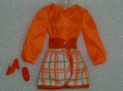SKIRT ~ BARBIE DOLL ORANGE PLAID MOD FRIENDS TANGERINE SCENE REPRO REPRODUCTION