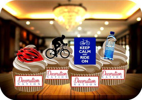 CYCLISME Mix Set D 12 comestibles Standup gâteau Toppers Décoration Anniversaire Sport Vélo