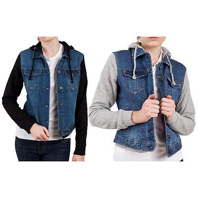 Soundgirl Women's Sweatshirt Sleeve Hooded Denim Jean Jacket - Black or Gray