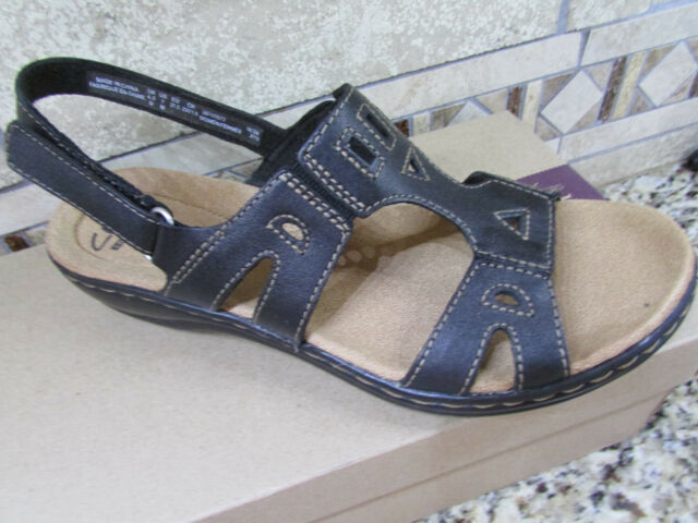 2acb99a980c0 NEW CLARKS LEISA LEATHER STRAPPY SANDALS WOMENS 8 BLACK LEATHER FREE SHIP