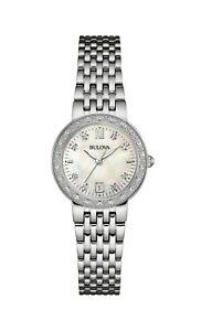 Bulova-Women-039-s-Quartz-Diamond-Accents-Silver-Tone-Bracelet-26mm-Watch-96R203