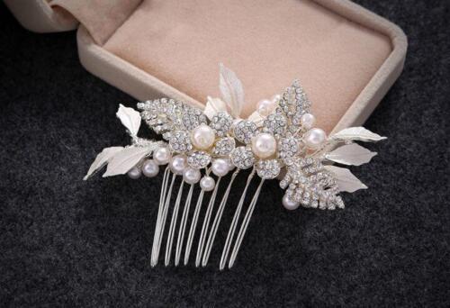 Crystal Bridal Dress Accessories Pearls Wedding Hair Comb Diamante Headdress