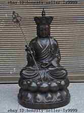 china buddhism Temple bronze seat lotus TangSeng Ksitigarbha Monk Buddha Statue