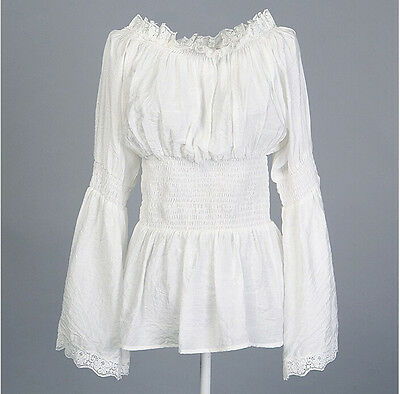 Women White Lace Tops Hippie Boho Peasant Long Sleeves Off Shoulder Blouse