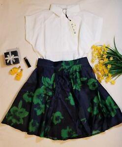 7c9a999b81ea Women 2 Pieces Set Floral Knee Skirt White Short Sleeve Shirt Ladies ...