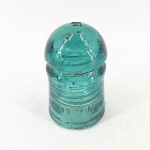 Vintage-Brookfield-New-York-Glass-Insulator-Aqua-Green-Bubbles-4-1-2-034