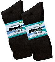 6 Pk First Quality Diabetic Socks Health Support Cushion Black Crew Sock 10-13