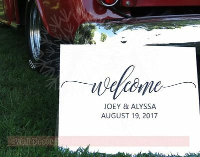 Welcome Wedding Vinyl Lettering Sticker Wall Decals Personalized Home Decor Gift