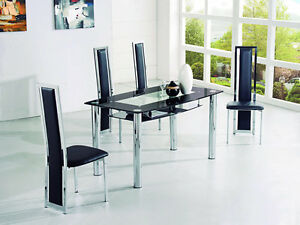 rovigo large glass chrome dining room table and 4 chairs
