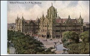 BOMBAY-Mumbai-Indien-India-Vintage-Postcard-1900-10-Victoria-Terminus-G-I-P-Ry