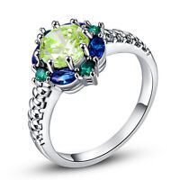 Green Amethyst Emerald Sapphire Gemstone Great Silver Ring Size 6 7 8 9 10 Gift