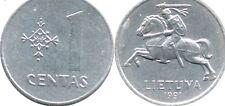 Lithuania 1 Centas Coins 1991 One Centas Europe